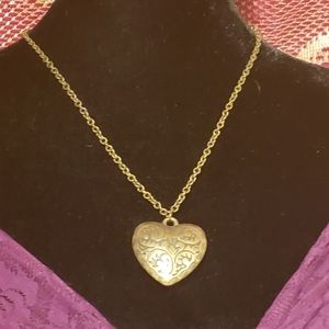 Vintage brass puffed heart pendant necklace